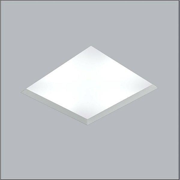 Plafon Now Frame Embutido Quadrado Acrílico Branco 48x48cm Usina Design 8x E27 Bivolt 30100-1 Corredores e Quartos