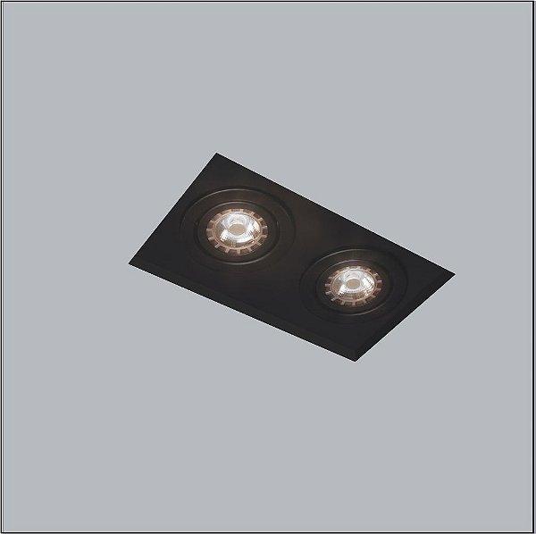 Plafon Now Frame Embutido Retangular Acrílico Preto 27x13cm Usina Design 2x PAR20 30220-32 Quartos e Banheiros