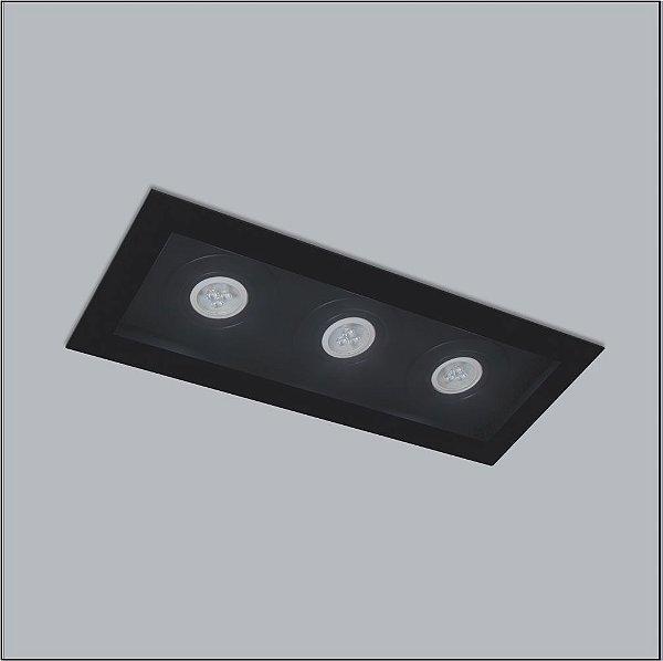 Plafon Premium Embutido Retangular Acrílico 15x36cm Usina Design 3x GU10 Dicróica Bivolt 4315-36 Salas e Quartos