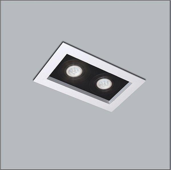 Plafon Premium Embutido Retangular Acrílico Preto 17x32cm Usina Design 2x AR70 Bivolt 4321-32 Salas e Quartos