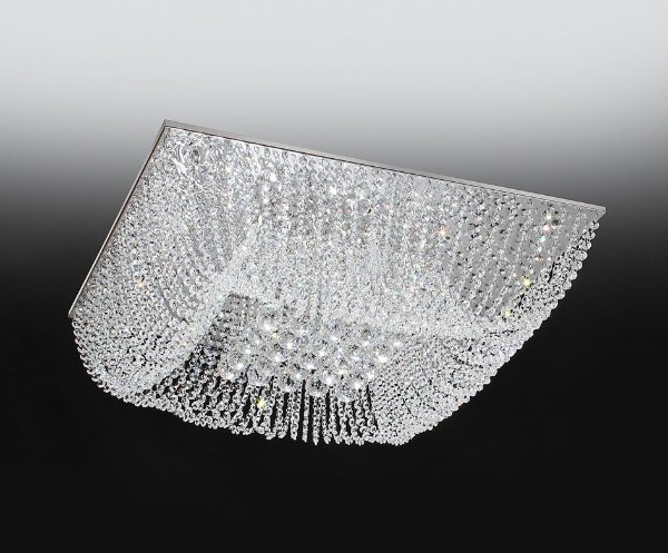 Plafon Cristal Sobrepor Quadrado Transparente 18x47cm Old Artisan 8x G9 Halopin Bivolt PLF4533-8 Salas e Quartos