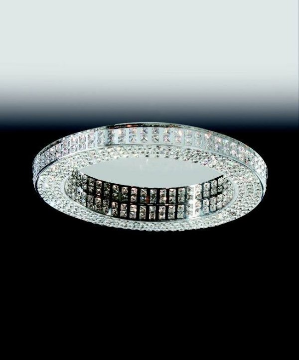 Plafon Aro Redondo Cristal Lapidado Metal 7,5x70cm Old Artisan 16x G9 Halopin Bivolt PLF4823-16 Entradas e Salas