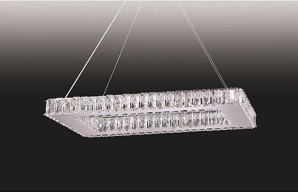 Pendente Cristal Lapidado Transparente Retangular 30x65cm Old Artisan 12x G9 Halopin Bivolt PD4933-12 Salas e Hall