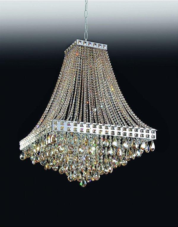 Lustre Imperial Vertical Cristal Lapidado 96x69cm Old Artisan 20x G9 Halopin Bivolt PD4690-20 Entradas e Salas