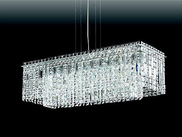 Pendente Retangular Cristal Lapidado Metal 26,5x77cm Old Artisan 12x G9 Halopin Bivolt PD-4593 Salas e Mesas