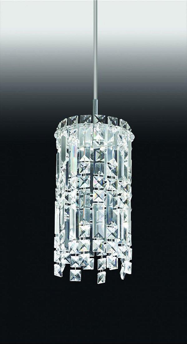 Pendente Tubular Vertical Cristal Metal Cromado 27x15cm Old Artisan 1x G9 Halopin Bivolt PD-4591 Salas e Corredores