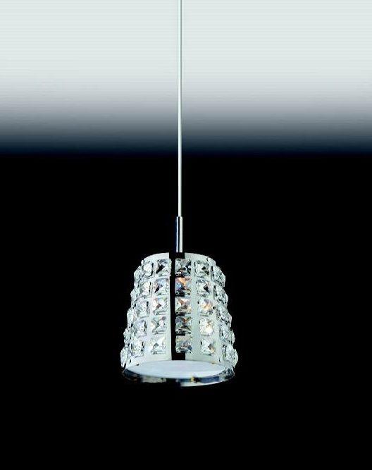Pendente Cristal Lapidado Conico Metal Cromado 23x14cm Old Artisan 1x G9 Halopin Bivolt PD-4707 Mesas e Corredores