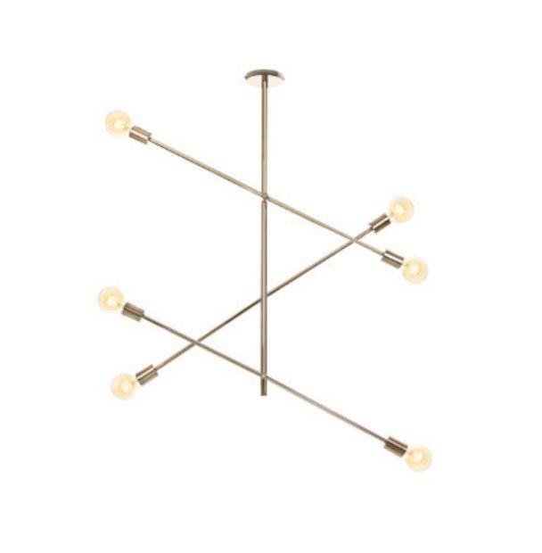 Pendente Moderno Hastes Vertical Metal Dourado 94x100cm Old Artisan 6x E27 Bivolt PD5219-B Salas e Entradas