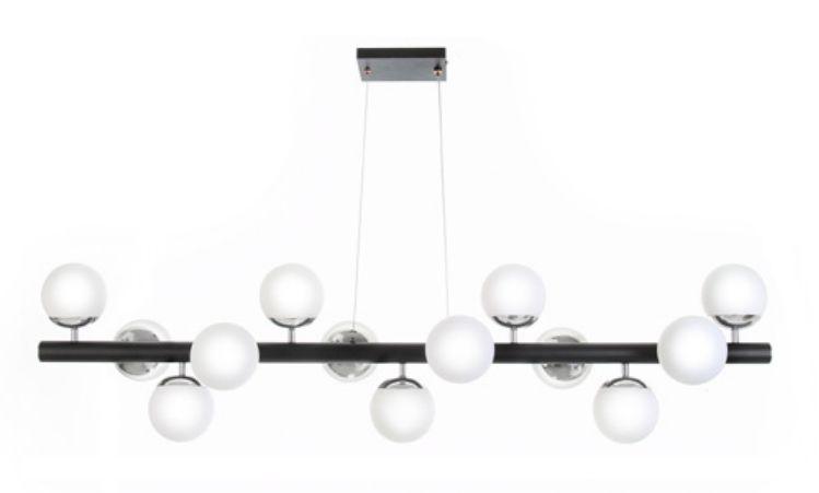 Pendente Haste Reta Metal Esferas Vidro Branco 35x130cm Old Artisan 13x G9 Halopin Bivolt PD-5208 Salas e Hall