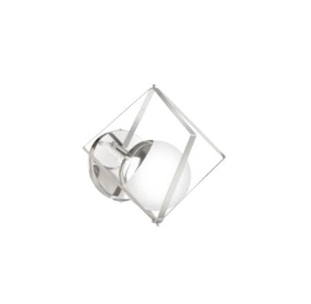 Arandela Esfera Vidro Cubo Moderna Metal Cromado 26x24,5cm Old Artisan 1x G9 Halopin Bivolt AR-5204 Salas e Hall