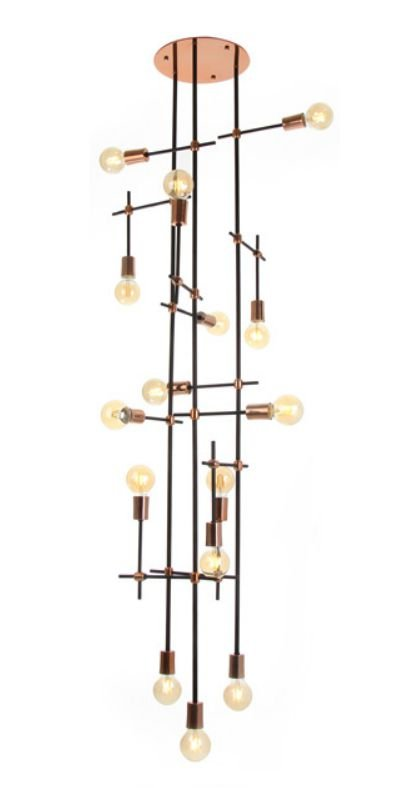 Plafon 15 Foco Articulado Vertical Alumínio Cobre 193x64cm Old Artisan 15x E27 Bivolt PLF-5171 Salas e Hall