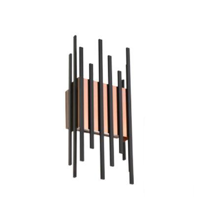 Arandela Hastes Vertical Quadrado Metal Preto 45x10,5cm Old Artisan 4x G9 Halopin Bivolt AR-5154 Corredores e Salas