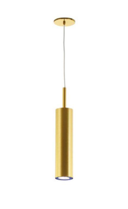 Pendente Tubo Vertical Alumínio Dourado 38x30cm Old Artisan 1x GU10 Minidicróica Bivolt PD-5147 Salas e Entradas
