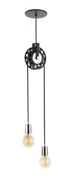 Pendente Roldana Duplo Fio Vertical Moderno Metal 80x7cm Old Artisan 2x E27 Bivolt PD-5125 Corredores e Salas