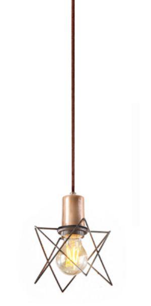 Pendente Aramado Moderno Vertical Metal Cobre 23x11cm Old Artisan 1x Lâmpada E27 Bivolt PD-5121 Balcões e Mesas