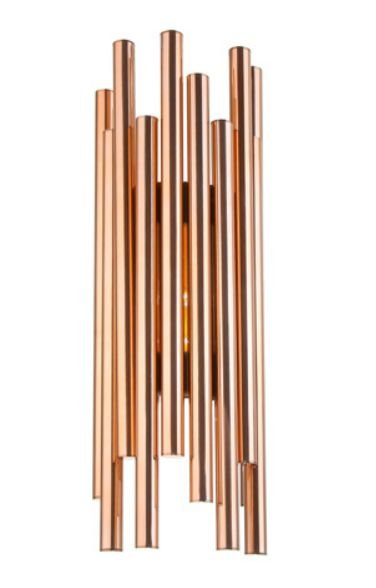 Arandela Hastes Retas Vertical Alumínio Cobre 60x20cm Old Artisan 4x G9 Halopin Bivolt AR-5111 Quartos e Salas