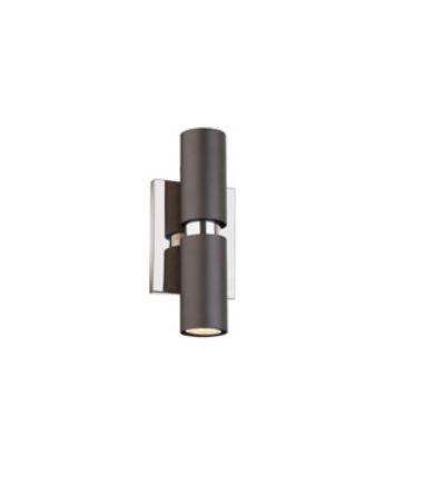 Arandela Tubo Vertical Redondo Metal Preto 20x7cm Old Artisan 2x G9 Halopin Bivolt AR-5108A Quartos e Entradas