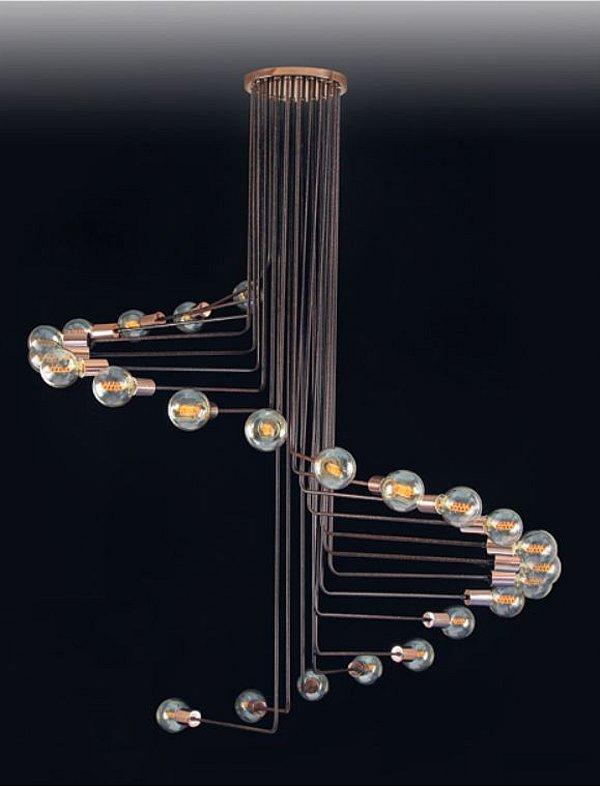 Plafon Hastes Curvas Vertical Moderno Alumínio 170x130cm Old Artisan 24x E14 Bivolt PLF-5102A Entradas e Salas