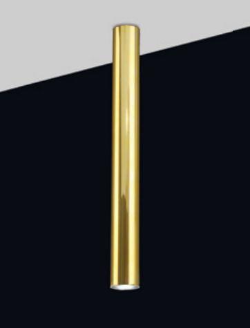 Plafon Tubo Redondo Vertical Metal Dourado 59x6,4cm Old Artisan 1x GU10 Dicróica Bivolt EMB-5002A Balcões e Mesas