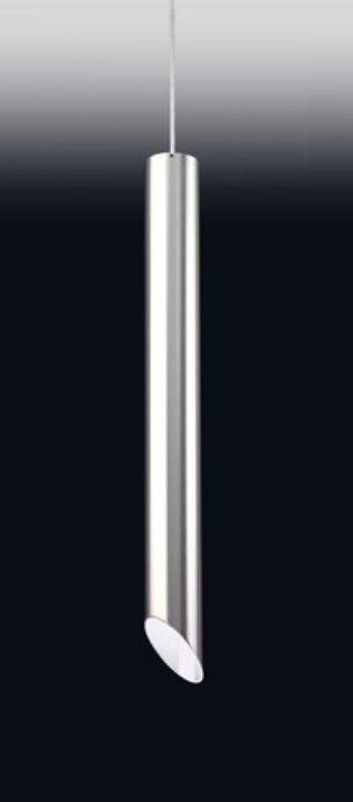 Pendente Tubo Metal Cromado Vertical Decorativo 59x6,4cm Old Artisan 1x GU10 Dicróica PD-4998A Balcões e Mesas