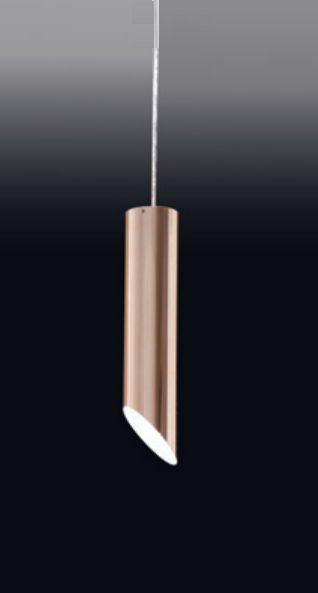 Pendente Tubo Cobre Escovado Vertical Metal 30x7,6cm Old Artisan 1x PAR20 Bivolt PD-4997 Balcões e Cozinhas
