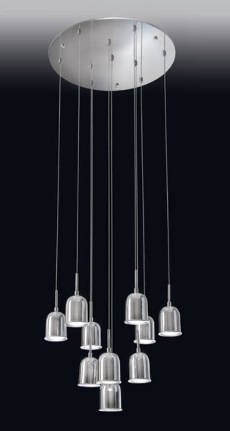 Pendente 10 Foco de Luz Vertical Redondo Metal 120x50cm Old Artisan 10x GU10 Dicróica PD-4971 Salas e Entradas