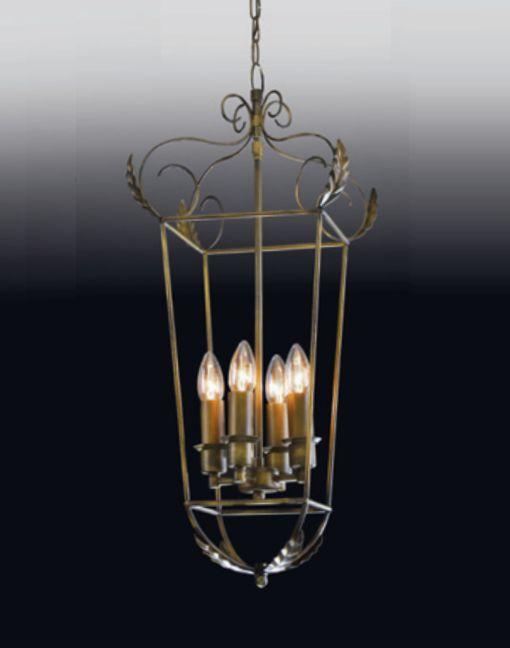 Pendente Curvo Metal Vertical Decorativo Bronze 70x22cm Old Artisan 4x E14 Bivolt PD-4942A Entradas e Salas