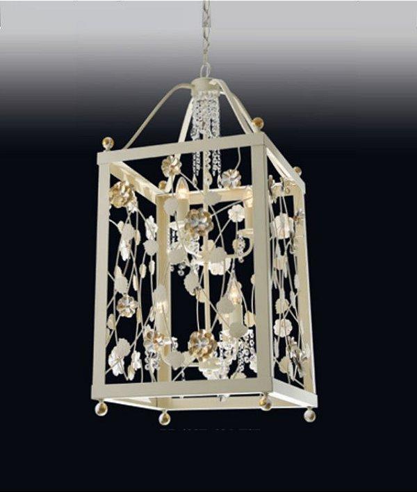 Pendente Rosas Retangular Metal Dourado Cristal 56x26cm Old Artisan 4x E27 Bivolt PD4937-P Entradas e Salas