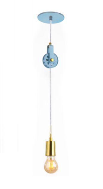 Pendente Roldana Vertical Alumínio Azul Moderno 25x5cm Old Artisan 1x E27 Bivolt PD-5126 Corredores e Balcões