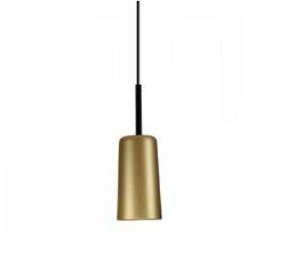 Pendente Bilboque Tubular Conico Metal Dourado 13,5x38cm Newline Lâmpada E27 25W Bivolt 109DOPT Balcões e Mesas