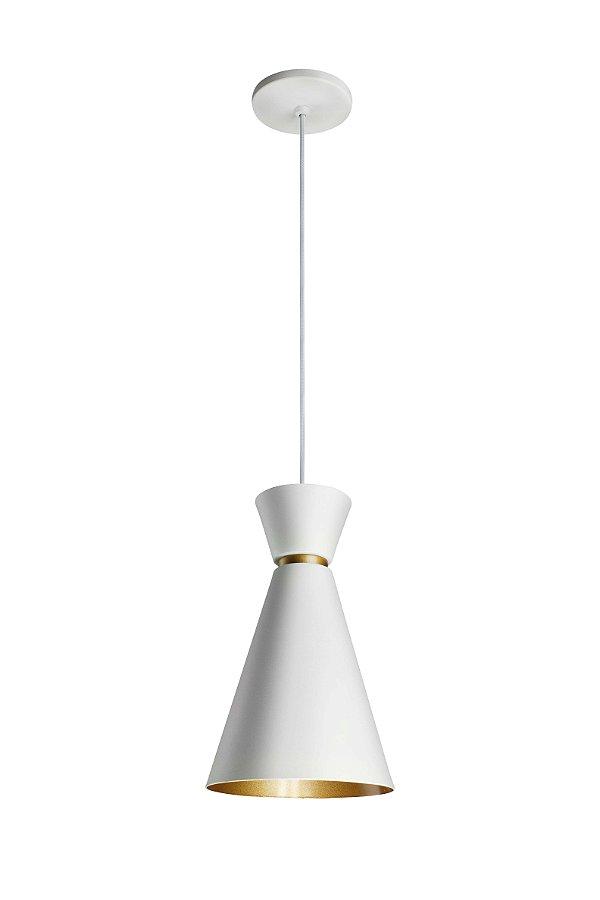 Pendente Bambola Funil Conico Metal Branco 30,5x18cm Newline Lâmpada E27 25W Bivolt 151BTDO Salas e Entradas