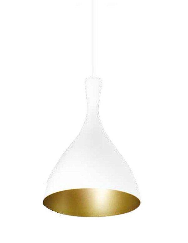 Pendente Pear Conico Curvo Vertical Metal Branco 28,5x20cm Newline Lâmpada E27 SNT305BTDO Salas e Corredores