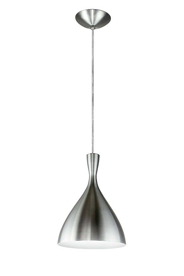 Pendente Pear Conico Curvo Vertical Metal Cromado 28,5x20cm Newline Lâmpada E27 SNT305ALBR Salas e Corredores