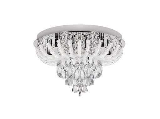Plafon Invulcano LED Controle Metal Cristal 60x30cm Luciin 12x G9 Halopin Bivolt TS090/L Corredores e Entradas