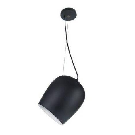 Pendente Spot Conico Alumínio Preto Branco 20x22cm Luciin Lâmpada E27 40W/ Compacta LED FR021/2 Salas e Quartos