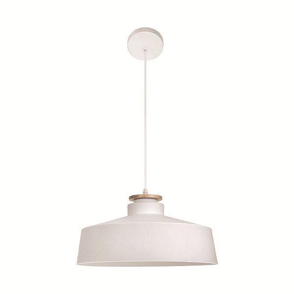 Pendente Flat Redondo Decorativo Metal Branco 18x40cm Luciin Lâmpada E27 40W/ COMPACTA LED FR028/3 Salas e Mesas