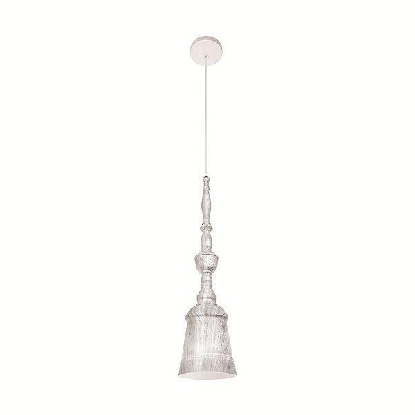 Pendente Bell Vertical Metal Mesclado Cinza 59x15cm Luciin Lâmpada E27 40W/ COMPACTA 15W LED FR029/30 Salas e Mesas