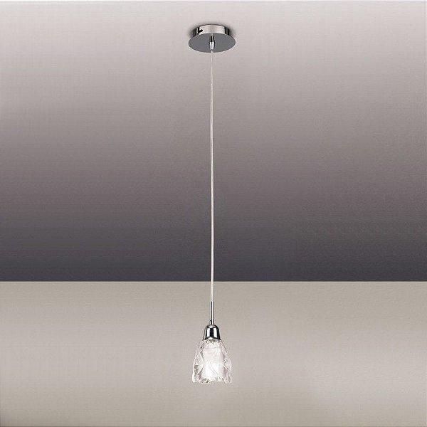 Pendente Amel Vertical Vidro Transparente Metal 12x20cm Mantra 1x G9 Halopin Bivolt 0579 Mesas e Balcões