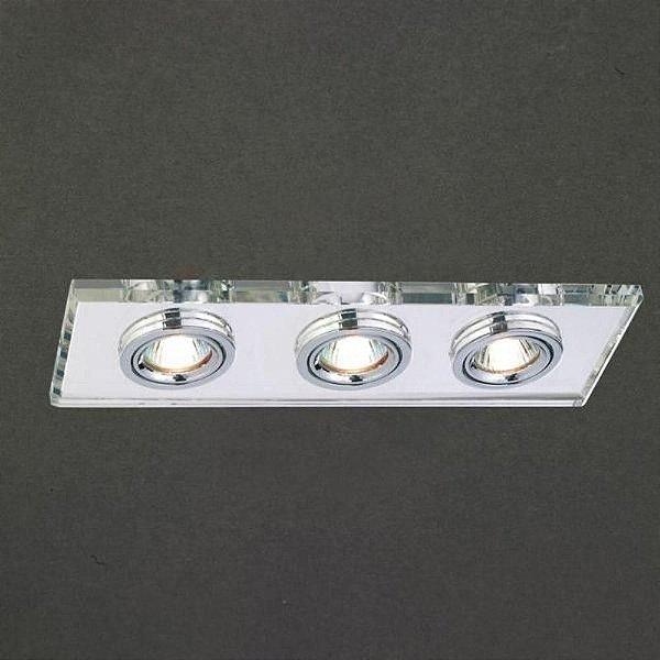 Spot Project Triplo Embutido Retangular Direcionável 9x25,5cm Mantra 3x Minidicróica 20W 2732 Entradas e Salas