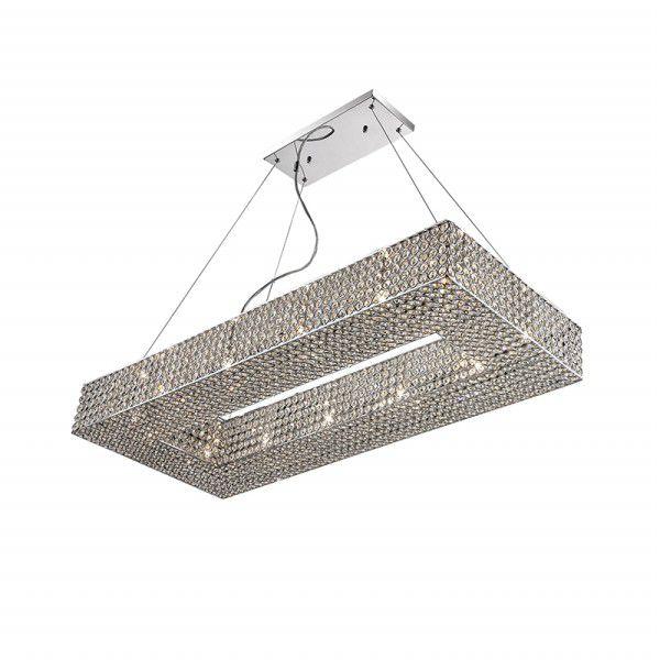 Pendente Piazza Retangular Metal Cristal Asfour 211x100cm Mantra 12x G9 Halopin Bivolt 30012 Salas e Corredores