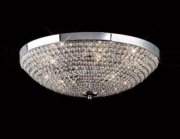 Plafon Ava Sobrepor Redondo Cristal Asfour Metal 55x55cm Mantra 9x G9 Halopin 40W Bivolt 30027 Salas e Entradas