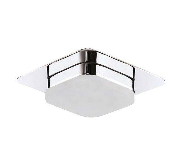 Plafon Square LED Semi Embutido Metal Acrílico 6x10cm Mantra 1x LED 3000K 5W Bivolt 30075 Banheiros e Quartos