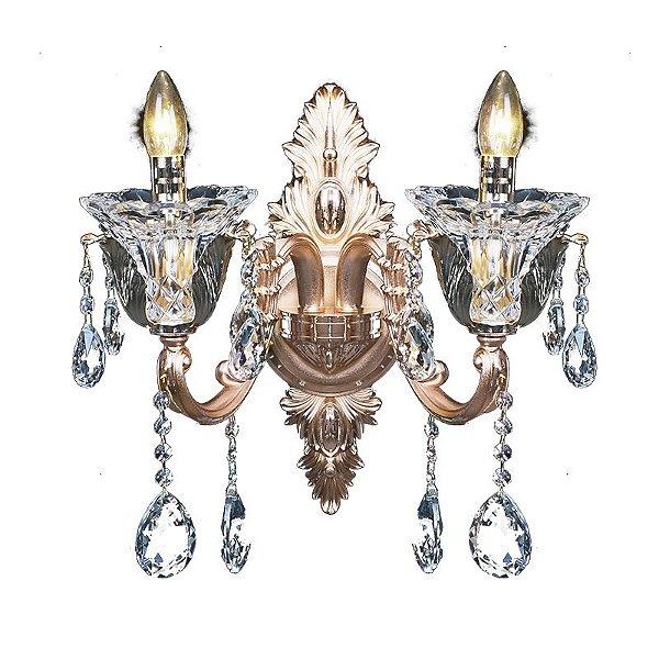 Arandela Rose Vela Classica Dupla Cristal Asfour 45x39cm Mantra 2x E14 40W Bivolt 30177 Corredores e Salas