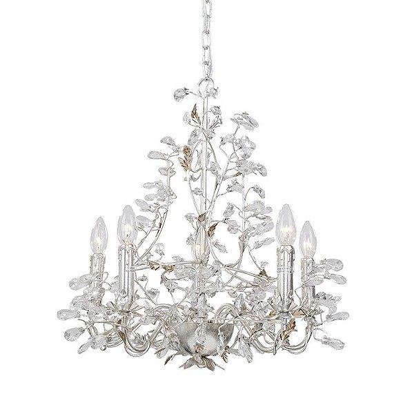 Lustre Lorena Candelabro Cristal Transparente Metal Cromado 54x50cm Mantra 5x E14 40W Bivolt 30289 Salas e Hall