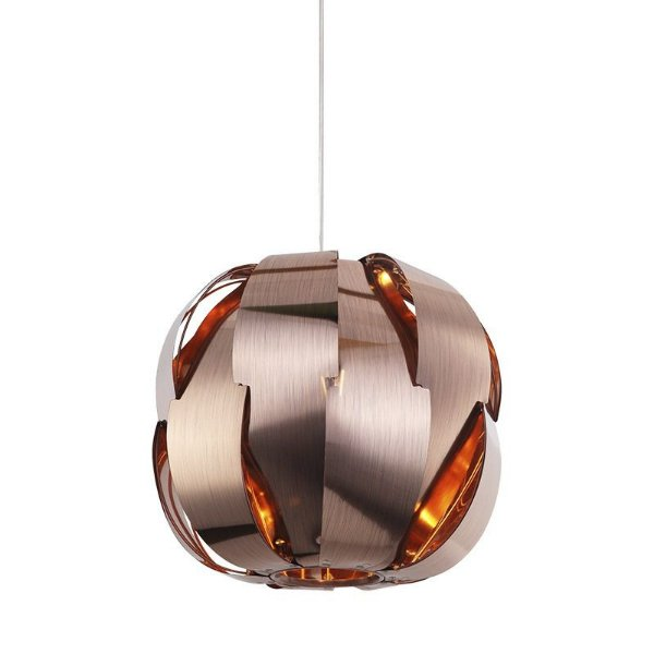 Pendente Stark Redondo Moderno Alumínio Bronze 35x32cm Mantra 1x E27 24W Bivolt 30338 Salas e Corredores