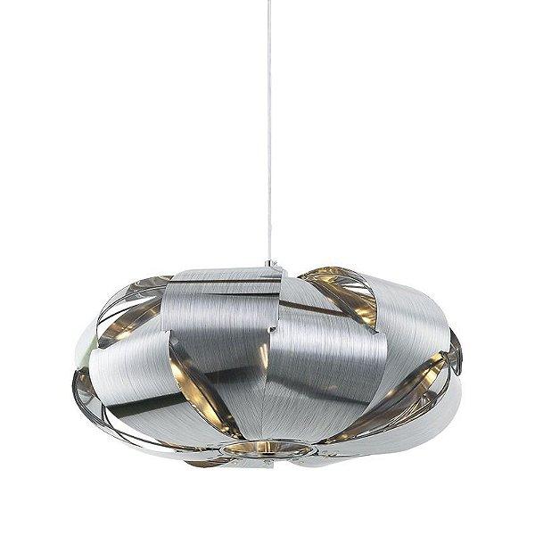 Pendente Stark Disco Redondo Moderno Alumínio Cromado 23x45cm Mantra 3x E27 24W Bivolt 30343 Salas e Corredores