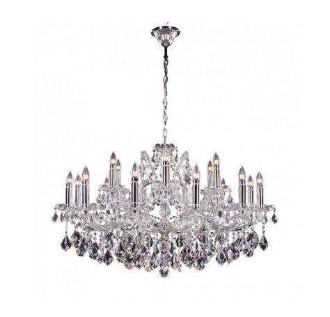 Lustre Khalid Candelabro Cristal 18 Braços Metal Cromado 63x100cm Mantra 18x E14 40W Bivolt 30416 Salas e Hall