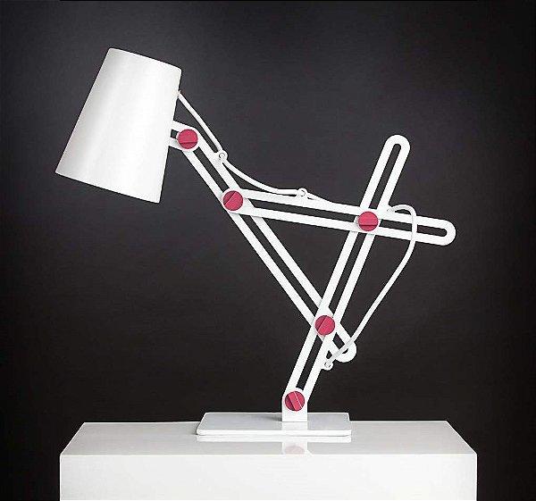 Luminária de Mesa Looker Articulada Metal Branco Rosa 50x22cm Mantra 1x E27 15W Bivolt 3613 Mesas e Escritórios