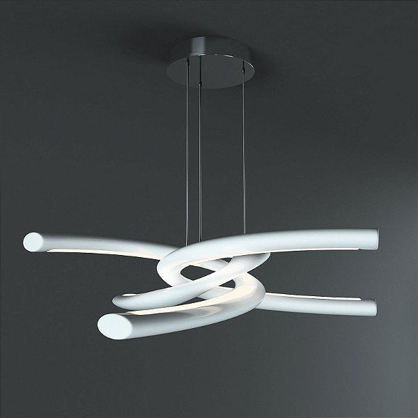 Pendente Knot LED Moderno Policarbonato Acrílico Metal 18x76cm Mantra 1x LED 48W Bivolt 3970 Salas e Cozinhas