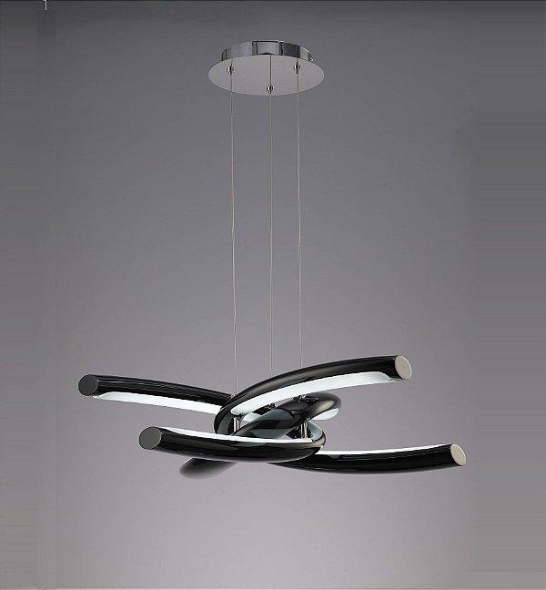 Pendente Knot LED Moderno Policarbonato Acrílico Metal 18x76cm Mantra 1x LED 48W Bivolt 3971 Salas e Cozinhas